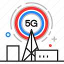 5g, antenna, cell, internet, tower icon