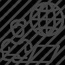 globe, home, laptop, man, online, work icon