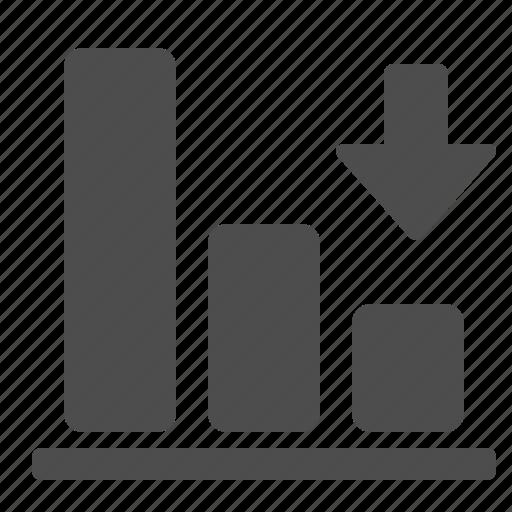 arrow, chart, down, graph icon