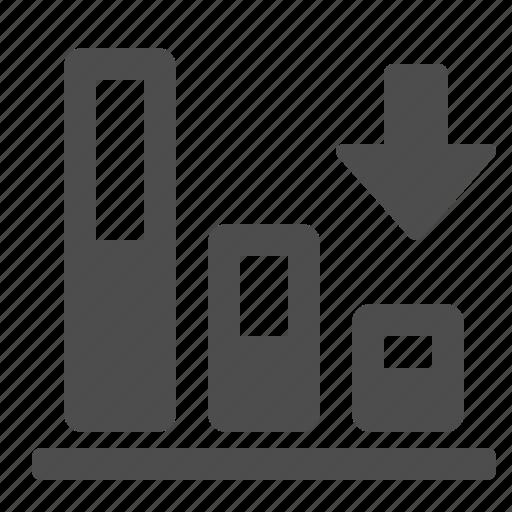 arrow, chart, diagram, down, graph icon