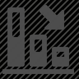 arrow, chart, down, graph, stats icon