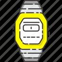 casio watch, hand watch, retro, vintage, watch icon