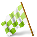 chartreuse, chequeredflag, left, mapmarker icon