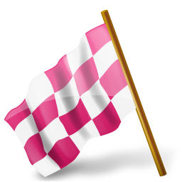 chequeredflag, left, mapmarker, pink icon
