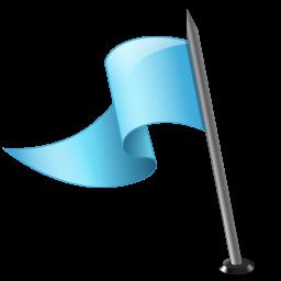 azure, flag, left, mapmarker icon