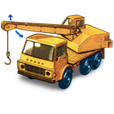 crane, dodge, movement, truck, with icon
