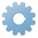 blue, gear icon