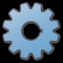 blue, gear icon