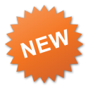 label, new, nuevo, orange, sticker icon