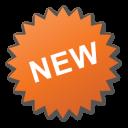 label, new, nuevo, orange, sticker icon