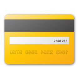 card, credit, yellow icon