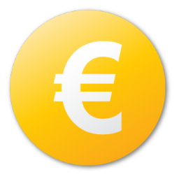 currency, euro, yellow icon