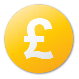 currency, pound, yellow icon