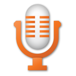 microphone, orange, red icon