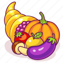 cornucopia, vegetables, horn, autumn, plenty, fruits, harvest