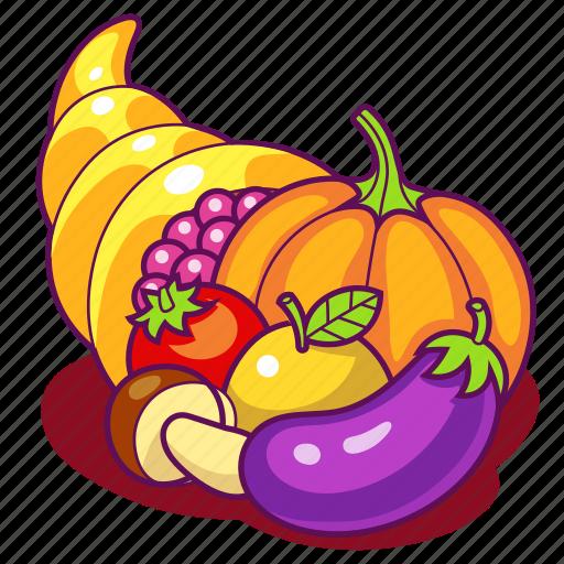 Autumn, cornucopia, fruits, harvest, horn, plenty, vegetables icon - Download on Iconfinder