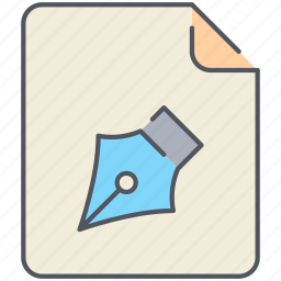 draw, extension, file, filetype, format, pen, write icon
