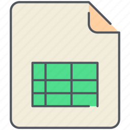 data, excel, file, filetype, format, table, tabular icon