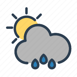autumn, cloud, cloudy, rain, storm, sunny, weather icon