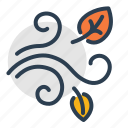 autumn, fall, high wind, leaf, leaves, weather, windy icon