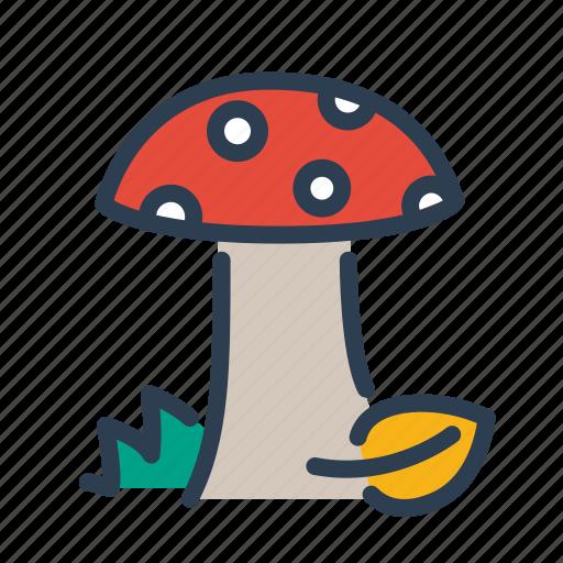 amanita, autumn, mushroom, poison icon