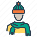 autumn, avatar, hat, hood, scarf, stole, warm clothes icon