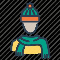 autumn, avatar, hat, hood, scarf, stole, warm clothes icon