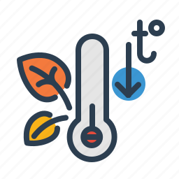 autumn, cold, leaves, low, temperature, termometer, weather icon