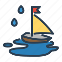 autumn, kids, rain, sailing, ship, slop, toy icon