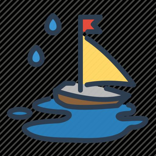 autumn, kids, rain, sailing, ship, slop, toy icon