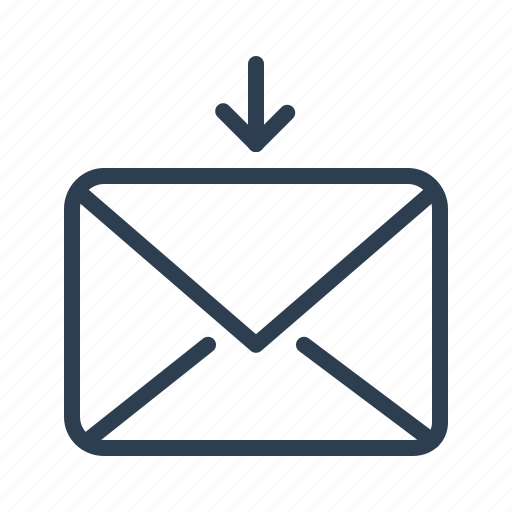 arrow, down, email, envelope, letter, message, recieve icon
