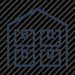 building, cargo, crates, depot, garage, storage, warehouse icon