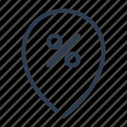 discount, location, marker, percent, pin, sale, sales icon