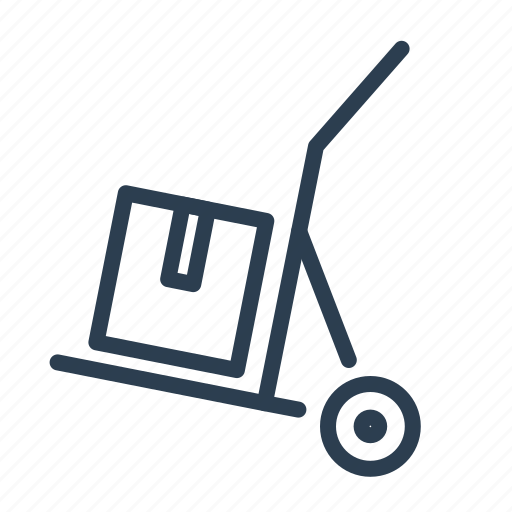 crate, delivery, hand truck, package, parcel, shipping, transportation icon