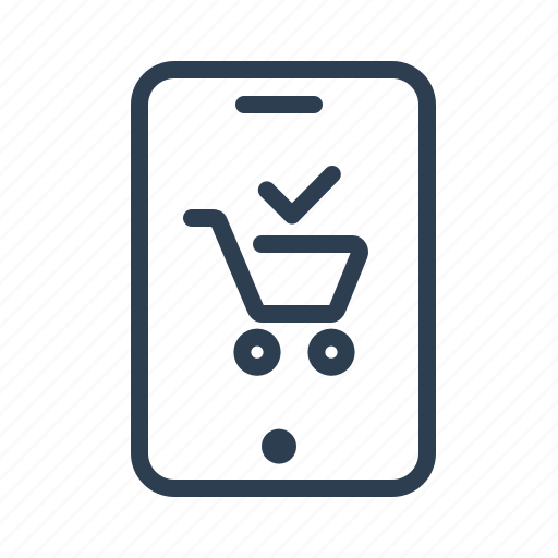 cart, checkmark, complete, done, mobile app, online shop, shopping app icon