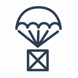 box, cargo, containter, delivery, package, parachute, shipping icon
