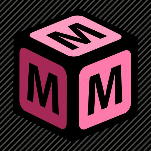 abc, alphabet, font, graphic, language, letter, m icon