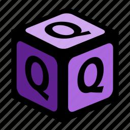 abc, alphabet, font, graphic, language, letter, q icon