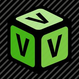 abc, alphabet, font, graphic, language, letter, v icon