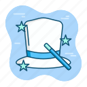 entertain, entertainment, fun, hat, magic, perform, wizard icon
