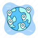 earth, globe, gps, location, map, navigation, pin icon