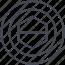 center, eye, hexagon, target icon