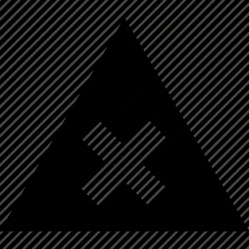 creative, cross, triangle, x icon