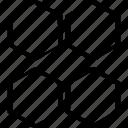abstract, creative, design, four, hexagons icon