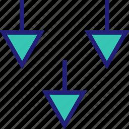abstract, arrows, creative, design, down icon