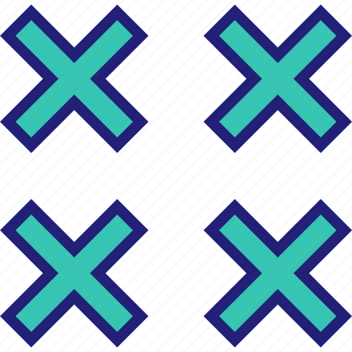 abstract, design, four, shape, x icon