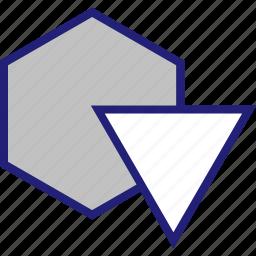 abstract, creative, design, hexagon, triangle icon