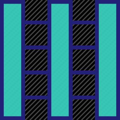 abstract, column, creative, design, lines, three icon