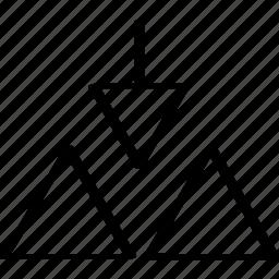 abstract, arrow, creative, design, down icon