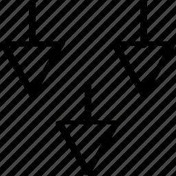 abstract, arrows, creative, design, three icon
